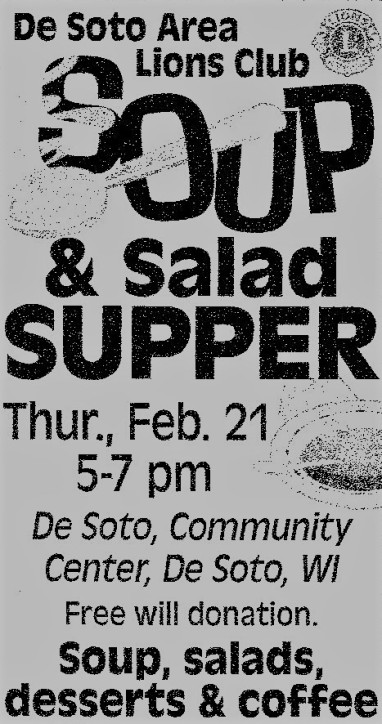Lions Soup and Salad Supper 2-21-19