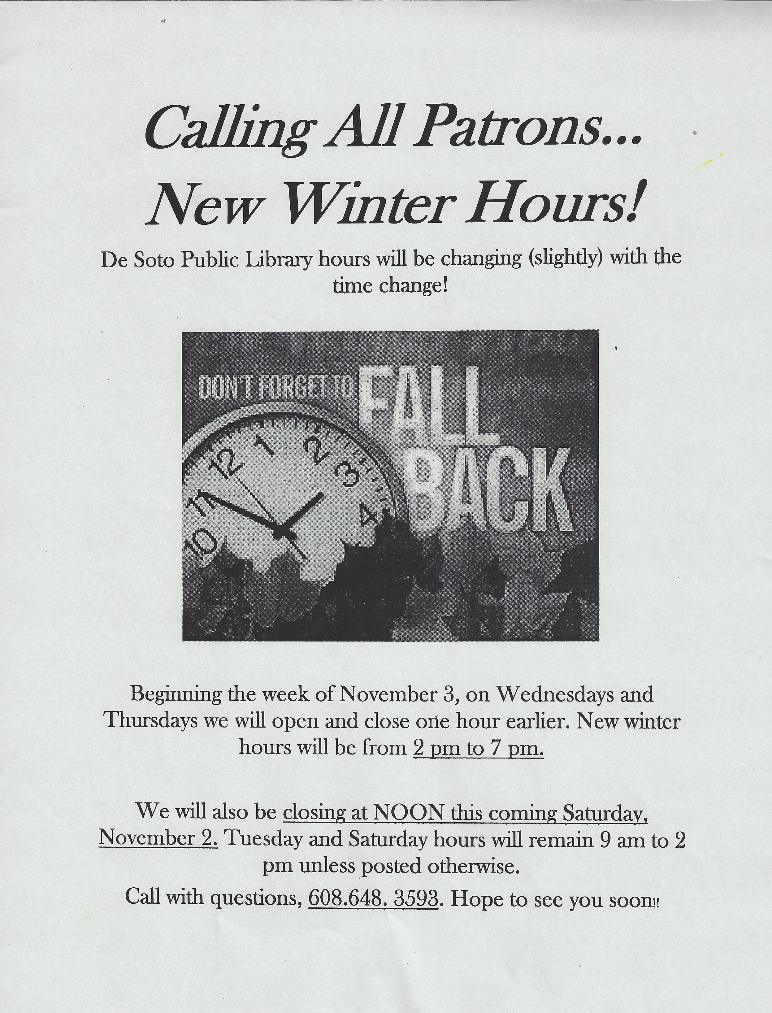 Library Winter Hours